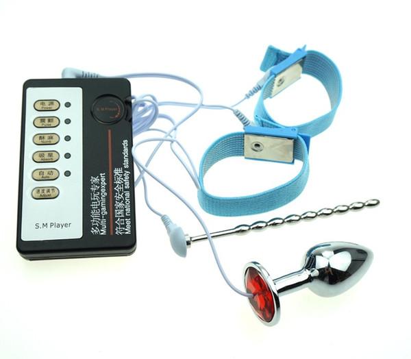 Choque elétrico Pênis Masculino Plugue Uretral Castidade Cateter de Estimulação Elétrica Anéis Penis Estimulação Plugue Anal Choque Eletro Brinquedos Sexuais Para homens