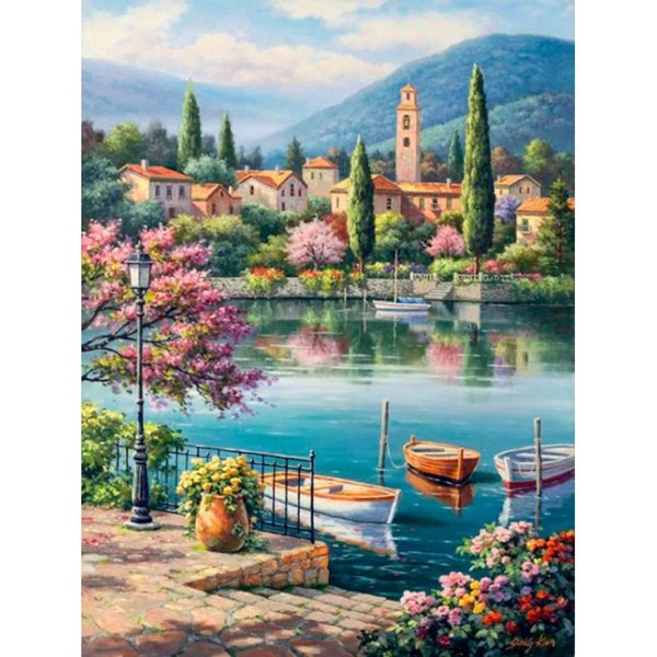 Cross stitch crafts diamond embroidery 5D Diy diamond painting home decoration rhinestone painting gifts, lake trees houses