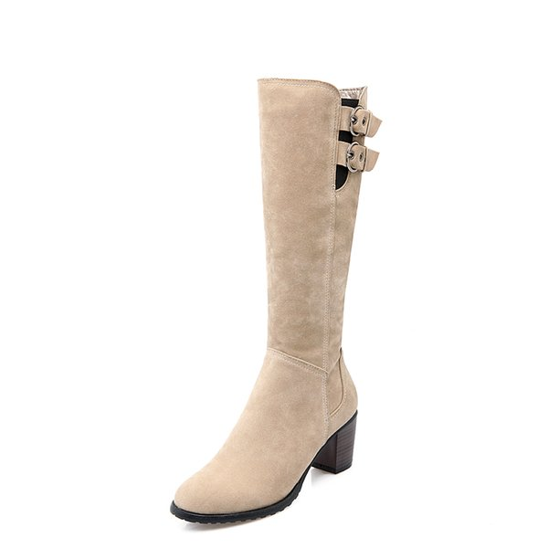 In autumn and winter, thick and round buckles are warm, pure, new, simple, wild and knee boots.Chivalry boots OD D897