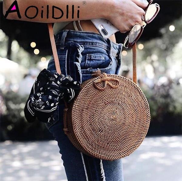 Popular 2018 hot sale Vietnam Hand Woven Bag Round Rattan Straw Bags Bohemia Style Beach Circle Bag free shipping