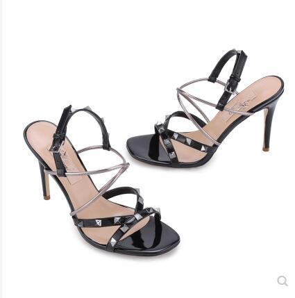 Best selling rivet high-heeled shoes cross strap Liu Ding buckle open toe middle heel thin heel fish mouth leather sandal female summer