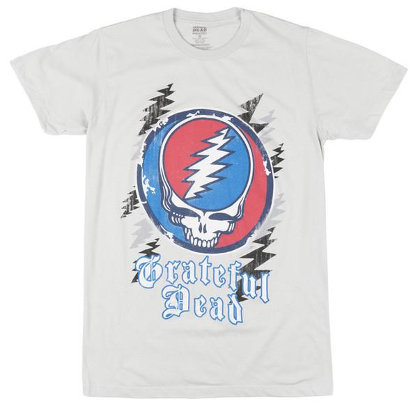 Detalhes zu O Grateful Dead Crânio Relâmpago T-Shirt Rock Band Dos Homens Cinza Claro Engraçado frete grátis Unisex presente Ocasional