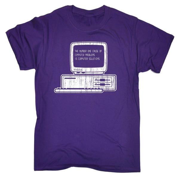 O número 1 causa de soluções de computador camiseta gamer engraçado presente de aniversário roupas engraçadas casuais t de manga curta