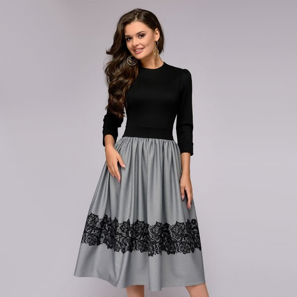 Women Vintage Lace Patchwork Party Dress Elegant Fit and Flare O Neck Dress 2018 Winter New Fashion Three Quarter Sleeve Dresses