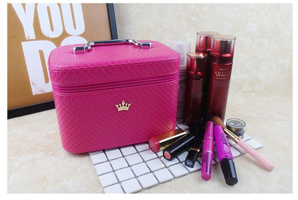 Women noble Crown big Capacity Professional Makeup Case Organizer High Quality Cosmetic Bag Portable Brush Storage box Suitcase