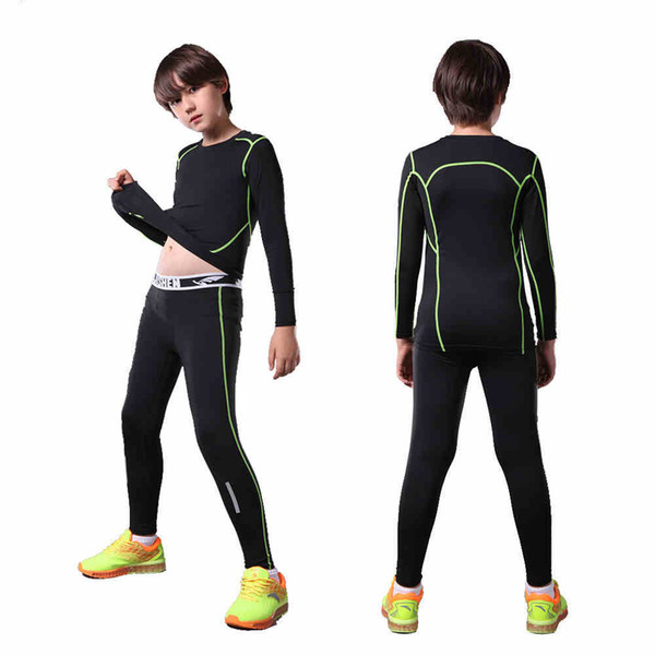 b79863b675 2017 Kids Child compression running pants shirts jerseys survetement football  youth soccer training skinny tights leggings