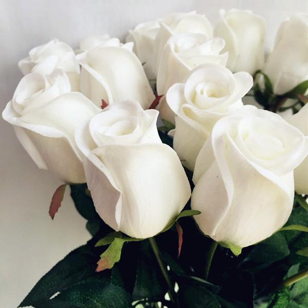 Real Touch Rose Fake Flower Rosa / azul / negro / rojo / amarillo / Púrpura PU Roses Artificial Rose 43cm para el banquete de boda Flores decorativas