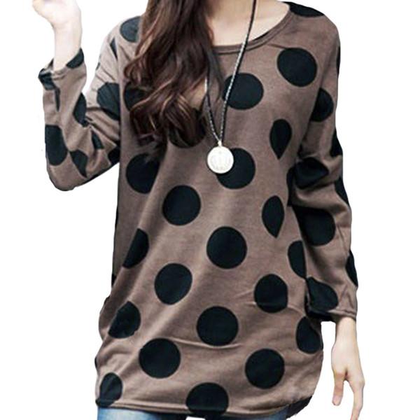 Korean T Shirt Frauen Langarm T-Shirt 5xl Plus Größe T-Shirt Dot Tunika Gestricktes Hemd Langer Pullover Weibliche Oberteile Tees Kaffee