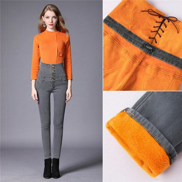Womens Fashion High Waist Slim Thick Warm Plush Jeans For Ladies Winter Breasted Lace Up Golden Velvet Elastic Skinny Denim Pants