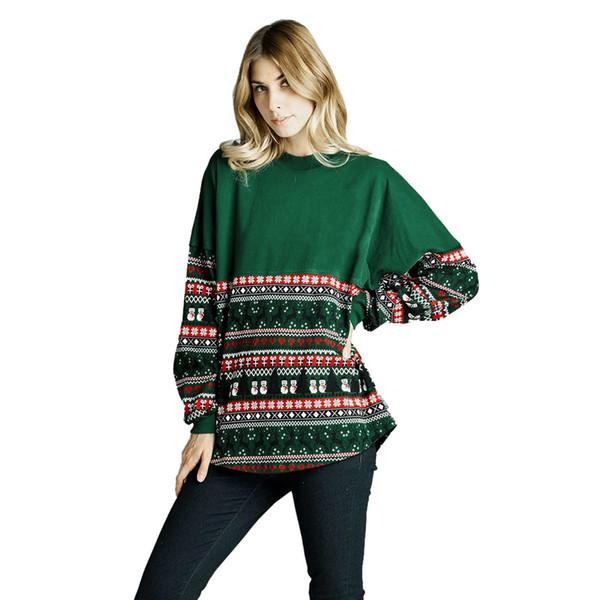 KLV Kadınlar Merry Christmas Uzun Kollu Gevşek Üstleri T-Shirt Hoodies 2018 Yeni Moda