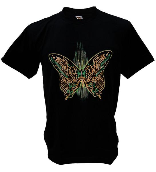 Butterfly Digital Graphic AMD Intel chip Robot AI cpu Banksy geek Man T-shirtPrint Round Neck Man