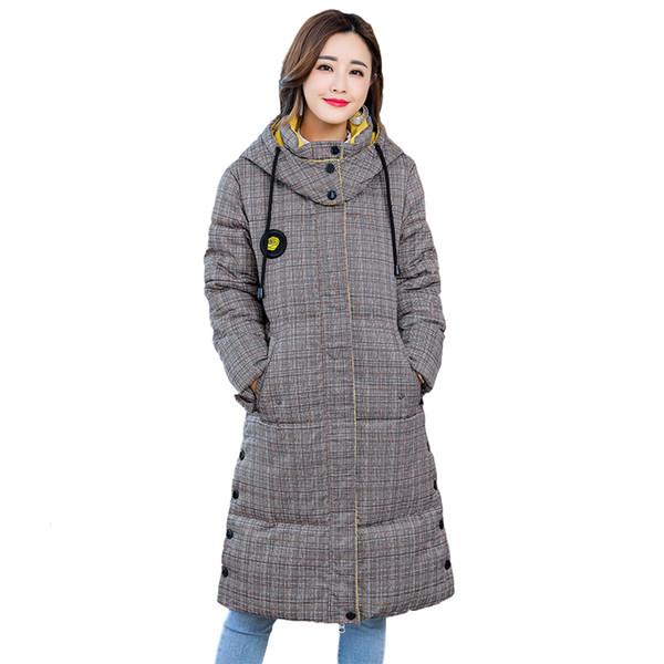 2018 New Winter Plaid Long Jacket Women Hooded Thicken Warm Jacket Female Plus Size 5XL Outerwear Parka Ladies Chaqueta Feminino