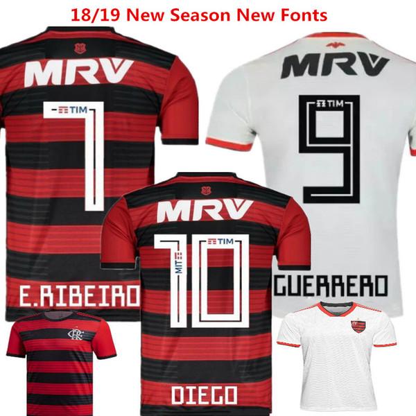 Camisas De Futebol Flamengo Casa Camisas De Futebol De Cor Vermelha DIEGO GUERRERO EDERSON MARCIO ARAUJO Brasil camisetas de futbol Fora Flamingo Branco