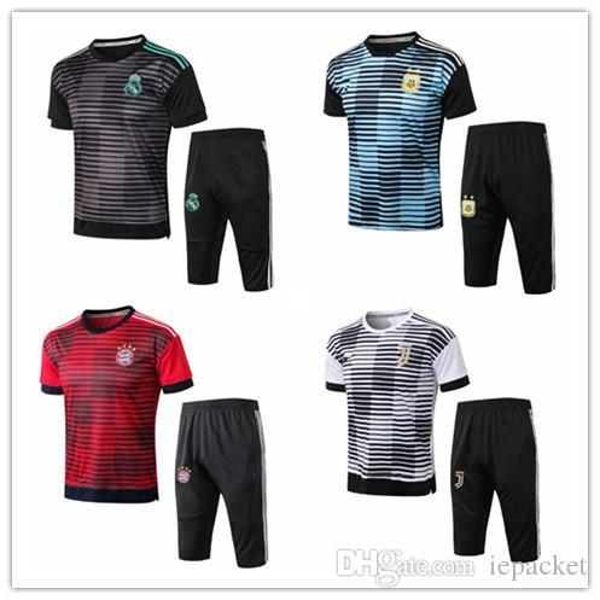 Nouveau RONALDO Pantalon 3/4 manches courtes Football Sportswear 2018-2019 Real Madrid Entraînement Uniformes International Bayern Munich Football Trainin