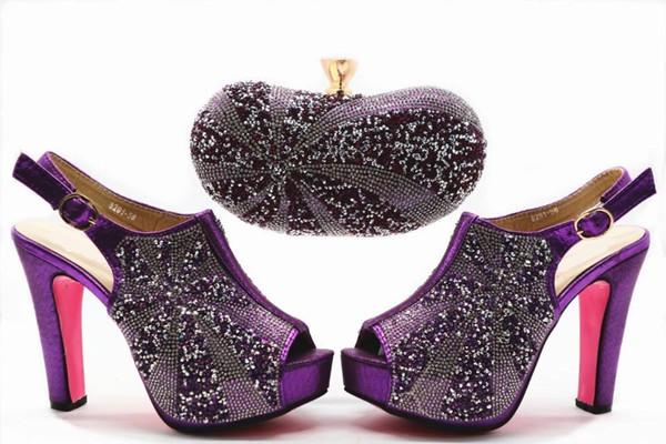 Fashionable purple women pumps with rhinestone decoration african shoes match handbag set for dress X30,heel 12CM