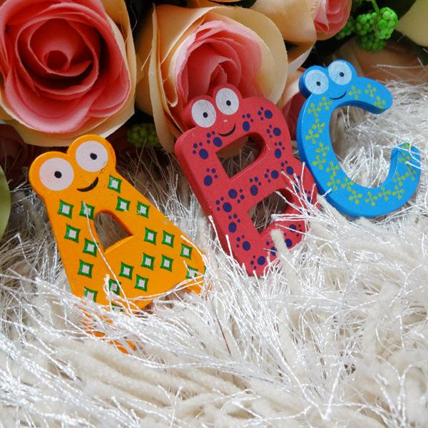 26Pcs/ Lot Cartoon Fridge Magnet Wooden Fridge Magnet Fridge Decoration Baby Child Toy Puzzle English Educational Toy 26 Letters