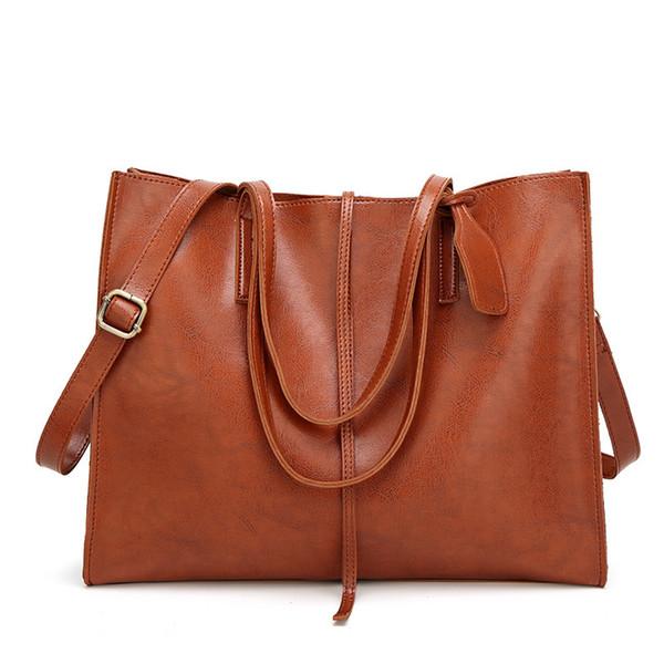 DIMINUTIVE 2018 Special Offer Classic Women Leather Shoulder Bag Casual Tote Brand Handbag Female Briefcase Vintage Sling Bag