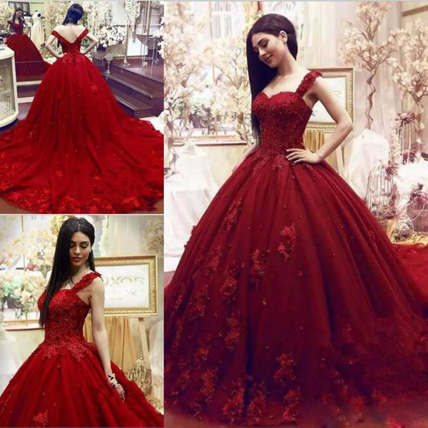 Vestidos de quinceañera Red Ball Quinceanera Backless Plus Size Formal Crecido Sweep Train Vestidos de Noche Dulces Vestidos para Ocasiones Especiales Personalizados
