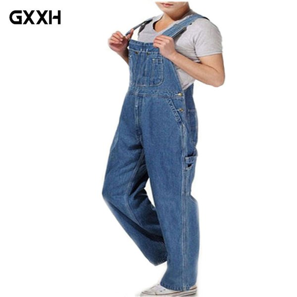 Hot 2018 Men's Plus Size 26-44 46 Overalls Large Size Huge Denim Bib Pants Fashion Pocket Jumpsuits Male Free Shipping Brand