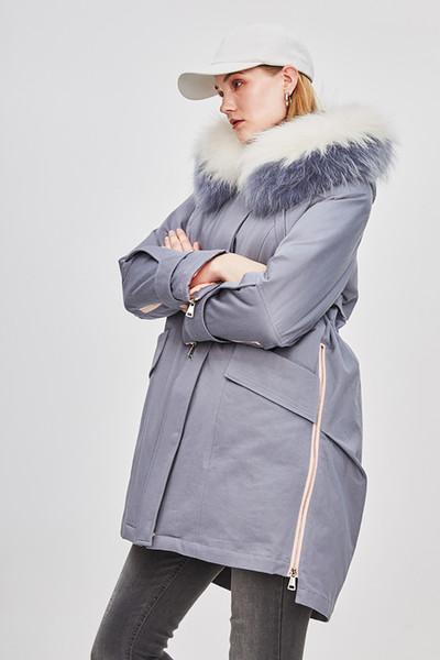 Top Quality Safari Style Women's Casual Long Down Parka Hooded With Raccoon Fur Collar Zipper Coat