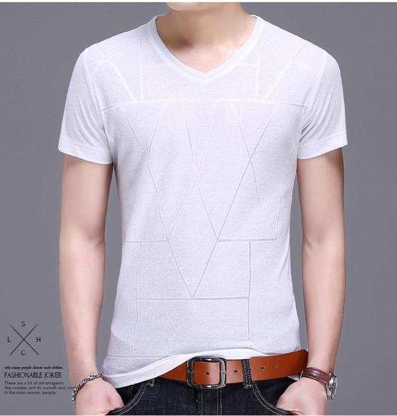 Nouveau style 2018 hommes T-shirt à la mode rayure mince manches courtes V - col leggings 100 pur coton confortable T-shirt pour hommes