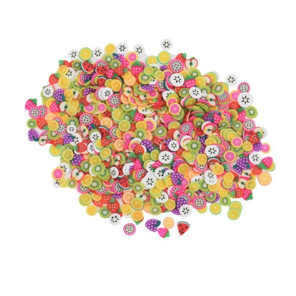 1000pcs/pack 5mm 3D DIY Nail Art Acrylic Fruit Flower Butterfly Fimo Slices Polymer Clay Colorful Slice Decoration Tips Manicure