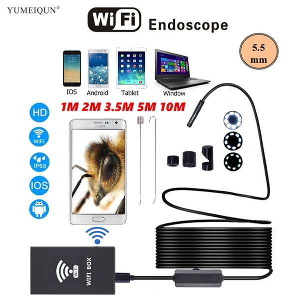 Endoscopio Wi-Fi Android IOS Phone PC impermeabile Snake Industrial Wireless Car WiFi Endoscopio IPhone Camera HD Video Borescope