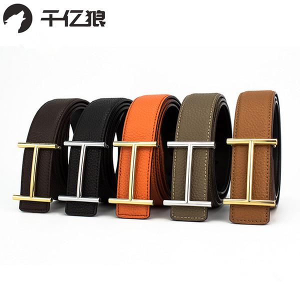 Cinture a H in pelle da uomo di alta qualità Cinture a fibbia liscia Cintura in pelle di grano di Woem con jeans casual Cintura donna vintage con