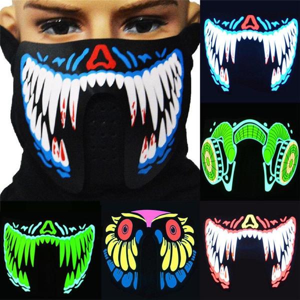 27 designs Flash LED musik Maske Mit Sound Aktiv für Tanzen Reiten Skaten EL Party sprachsteuerung maske kinder spielzeug