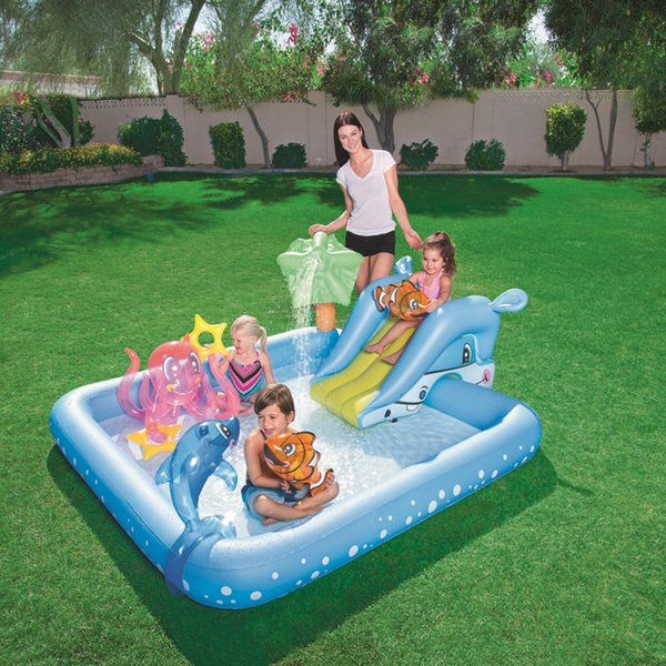 family inflatable swimming pool kid adult children blue garden balcony outdoor play