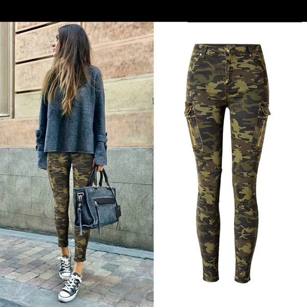 Wholesale Free Shipping Women's Fashion Mid Waist Skinny Stretchy Pant Side Pocket zip Pilot Style Casual Camouflage jeans