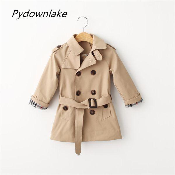 best selling Pydownlake Kids Coat Jacket Children Windbreaker Autumn Fashion Long Sleeve Double Breasted Adjustable Waist Outerwear Boys