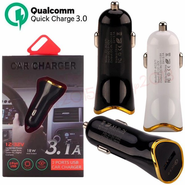 car charger 5V 3.1A Qc 3.0 Fast Quick charging Car chargers For iphone samsung for gps mp3 pc camera