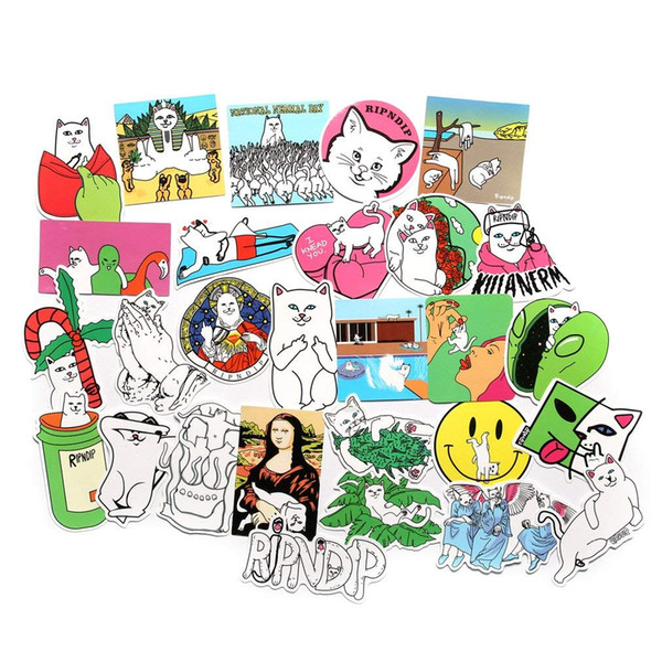 50pcs-Pack Cool Laptop Sticker Pack Cute Funny Cat sticker for Laptop Skateboard Helmet Motorcycle Bicycle Luggage Bumper Stickers Kids Teen