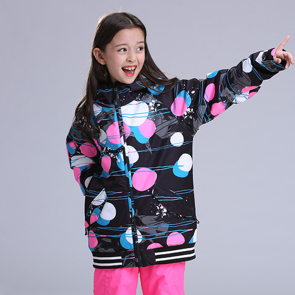 GSOU SNOW New Girl's Ski Suit Outdoor Winter Windproof Warm Waterproof Breathable Ski Jacket For Girl Size XS-L