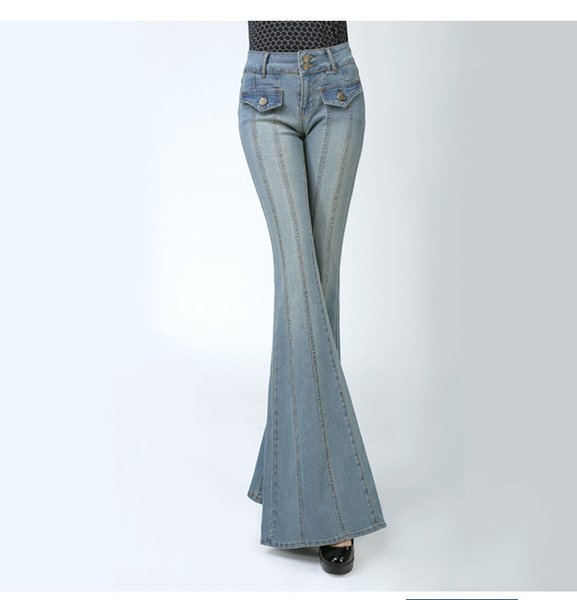 fashion high waisted flare jean pants slim women office lady casual wide leg flared jeans stretch bleached denim pants