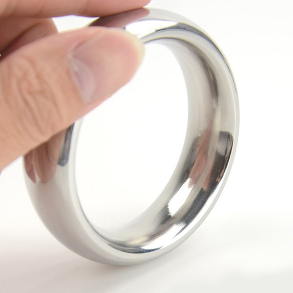 D: 40/45/50mm metal cockring 304 stainless steel cock ring adult sex toys for men on the dick heavy smooth male penis ball rings Y1892804