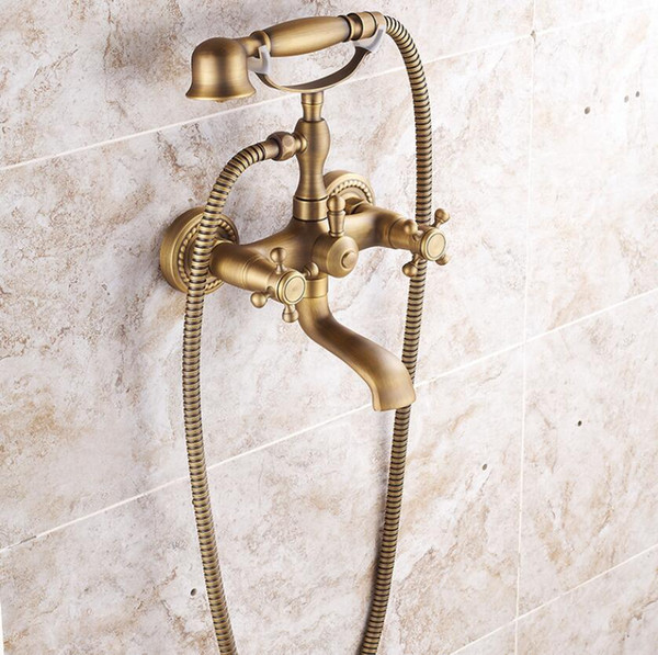 High Quality Wall Mounted Bathroom Faucet with Hand Shower Antique Bronze Bath Shower Mixer Set New Simple Rain Shower Set