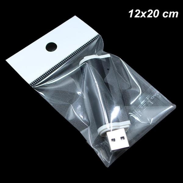 200 Stücke 12x20 cm OPP Ploy Kunststoff selbstklebende Kopfhörer Geschenkbeutel mit Hang Loch Selbstdichtung Kunststoff Poly Taschen USB Kabel Handwerk Pack Taschen