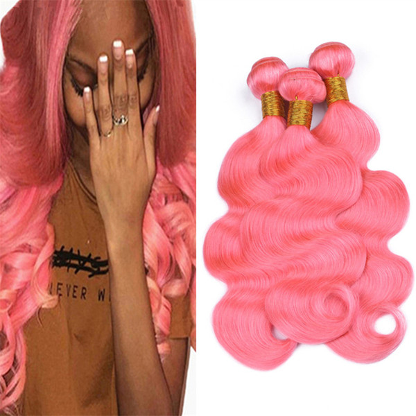 Pure Color Brazilian Pink Human Hair Weave 3Pcs Lot Body Wave Wavy Light Pink Virgin Hair Double Weft Extensions 300g