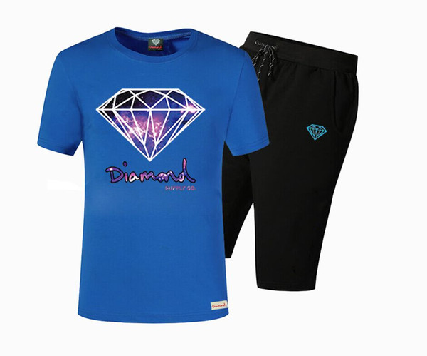 Brand Designer New Summer Cotton Mens T Shirts Fashion Short-sleeve Printed Diamond Supply Male Tops Tees Hip Hop Sport DTZ12