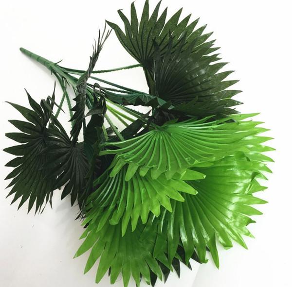 Compre Envío Gratis Simulación Planta Verde Decoración De La Pared Flor Simulación Hoja De Abanico Falso Plástico Flor Ingeniería Jardinería Arreglo