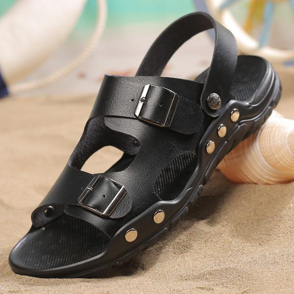 Großhandel Pop Männer Schnalle Echtes Leder Sandalen Schöne Sommer Bequem Große Größe Freien Dual Use Hausschuhe Männliche Mode Strand Schuhe Von