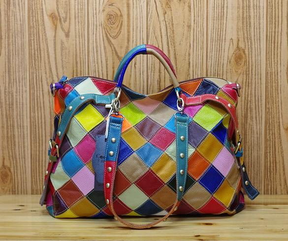 New rivet genuine leather multi-color handbags women shoudler crossbody messenger bags lady evening casual totes 2colors no930