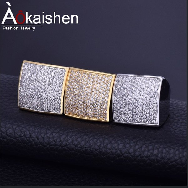 Hot Bling Herren Zirkon Ring Gold Silber Kupfer Material Iced Out Voll CZ Quadrat Ringe Mode Hip Hop Schmuck Größe 7-12