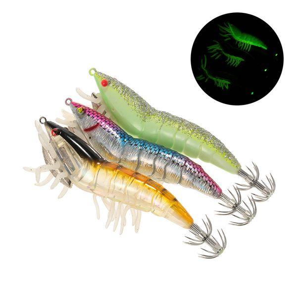 3/5pcs Wobblers Fishing Shrimp Lure with Squid Jigs Hook Noctilucen Prawn Hard Bait Bass Artificial Lure for Pesca