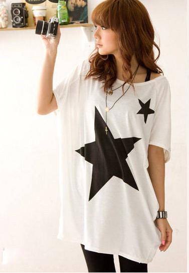 Fashion T Shirt Women Tops Long Loose Batwing Dolman Sleeve O-Neck Women T-Shirt Casual Star Tee Shirt Femme Cropped
