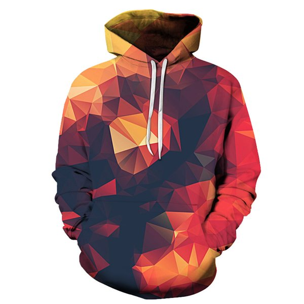 Sudadera con capucha 3d Colorido triángulo combinación de impresión Hombres / Mujeres SpaceGalaxy pul loverHoodies Sudaderas con capucha sudadera