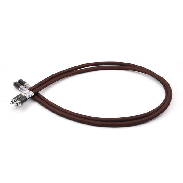 Envío gratis Par 6N 99.999% 5N Cable de interconexión RCA de cobre puro con conector de conector RCA de fibra de carbono
