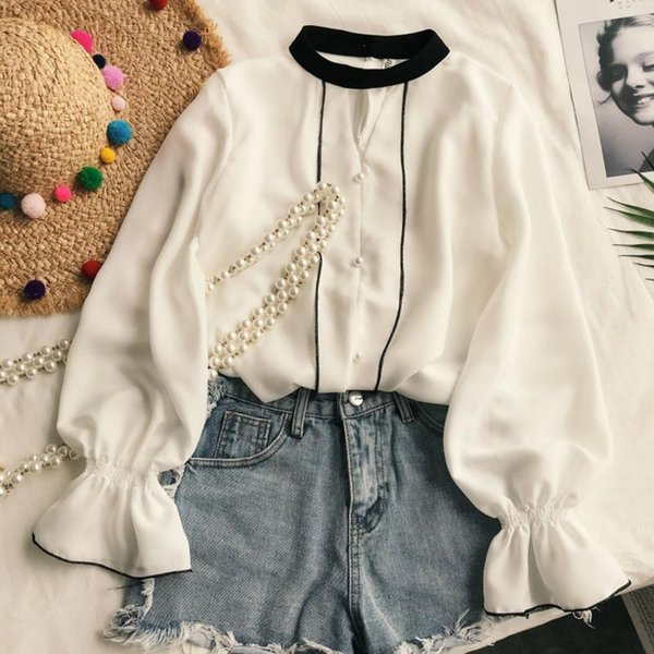 2018 Autumn Cute Vintage Preppy Style Office Lady White Women Blouses Loose Bead Girls Elegant Travel Holiday School Shirts